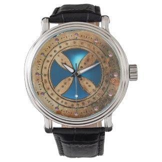 ANTIQUE TEMPLAR CROSS Blue Sapphire Gem Wrist Watch