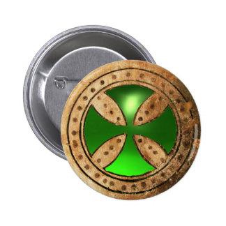 ANTIQUE TEMPLAR CROSS Green Emerald Gem Pinback Button