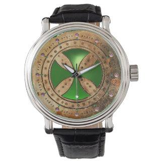 ANTIQUE TEMPLAR CROSS Green Emerald Gem Wrist Watch