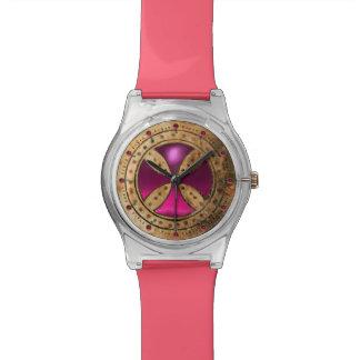 ANTIQUE TEMPLAR CROSS Pink Fuchsia Gem Wrist Watch