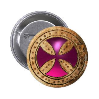 ANTIQUE TEMPLAR CROSS Pink Purple Amethyst  Gem Pinback Button