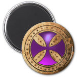 ANTIQUE TEMPLAR CROSS Purple Amethyst Gem Fridge Magnet