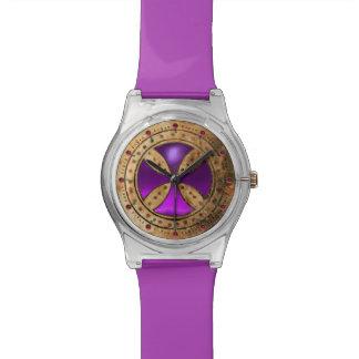 ANTIQUE TEMPLAR CROSS Purple Amethyst Gem Watch