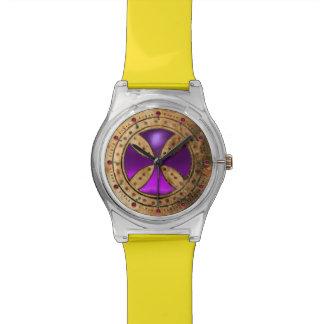 ANTIQUE TEMPLAR CROSS Purple Amethyst Gem Wrist Watch