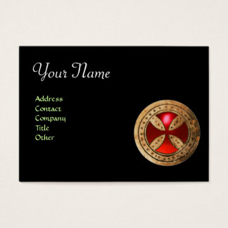 ANTIQUE TEMPLAR CROSS Red Ruby Gem Business Card