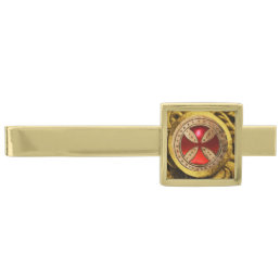 ANTIQUE TEMPLAR CROSS Red Ruby Gem Gold Finish Tie Bar