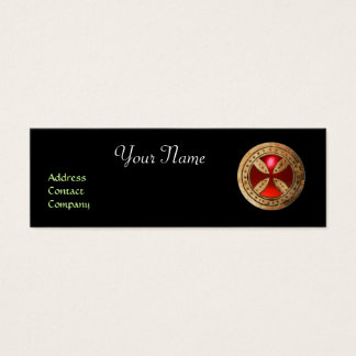 ANTIQUE TEMPLAR CROSS Red Ruby Gem Mini Business Card