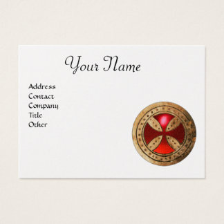 ANTIQUE TEMPLAR CROSS Red Ruby Gem Monogram Pearl Business Card