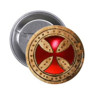 ANTIQUE TEMPLAR CROSS Red Ruby Gem Pinback Button