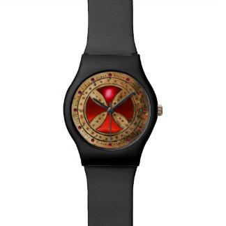 ANTIQUE TEMPLAR CROSS Red Ruby Gem Wristwatch
