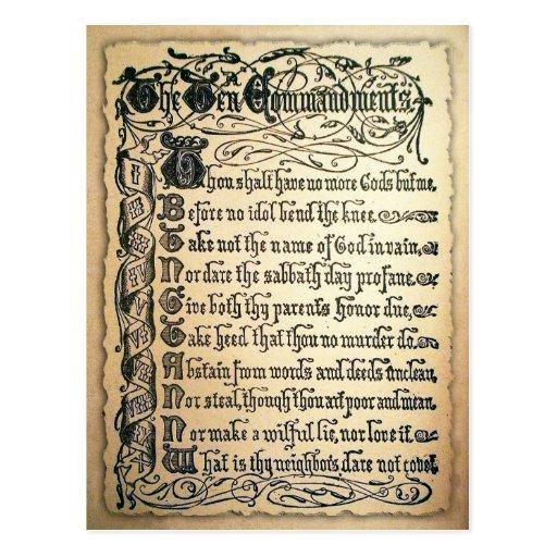 Antique Ten Commandments card Post Cards