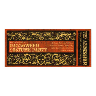 Antique Ticket Halloween Costume Party Vintage Card