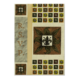 Antique Tiled Fleur de Lis (Brown) (Wedding) Card