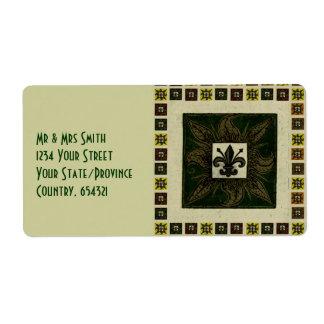 Antique Tiled Fleur de Lis (Green) Shipping Label