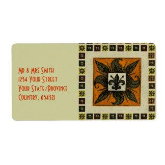 Antique Tiled Fleur de Lis (Orange) Shipping Label