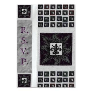 Antique Tiled Fleur de Lis (Purple) (Wedding) Card