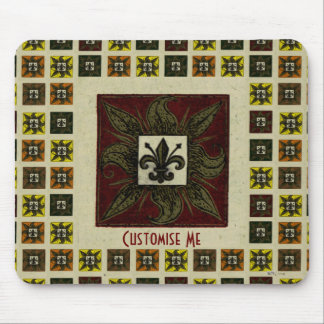 Antique Tiled Fleur de Lis (Red) Mouse Pad