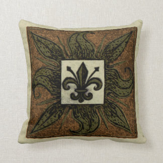Antique Tiled Fleur de Lis Throw Pillow