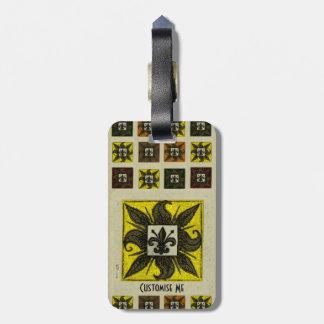 Antique Tiled Fleur de Lis (Yellow) Bag Tag