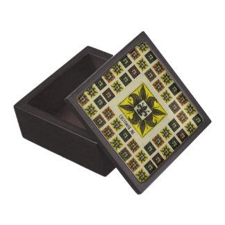Antique Tiled Fleur de Lis (Yellow) Premium Gift Box