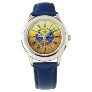ANTIQUE TIME ,Sun, Moon and Stars,Blue Gold Yellow Watch