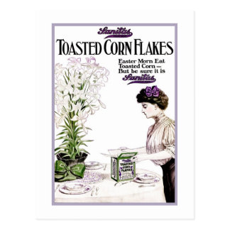 "ANTIQUE ""TOASTED CORNFLAKES"" EASTER BREAKFAST POSTCARD"