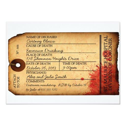 Antique Toe Tag Invitation - Morgue - Halloween