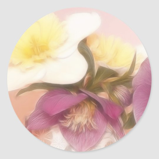Antique Tone Hellebores and Daffodils Classic Round Sticker