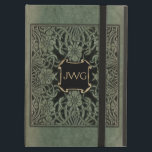 """Antique Tooled Leather Monogram Book Cover<br><div class=""""desc"""">Richly ornate floral cover art from 1898 edition of Longfellow&#39;s Roses and Lilies in shades of weathered deep olive green and black. Note:  Sculpted,  engraved,  embossed and dimensional effects,  layered,  textured and shadowed appearance achieved digitally. Actual product has a flat surface.</div>"""
