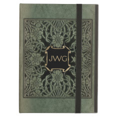 Antique Tooled Leather Monogram Book Cover iPad Air Case at Zazzle