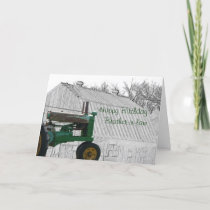 Antique Tractor and old Barn- customize it Card