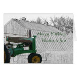Antique Tractor and old Barn- customize it Greeting Card