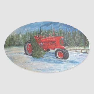 Antique Tractor at a Christmas Tree Farm Oval Sticker