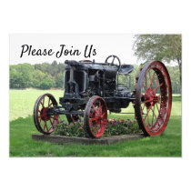 Antique Tractor Birthday Invitation