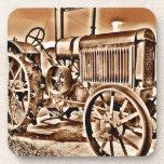 Antique Tractor Farm Equipment Classic Sepia Beverage Coaster