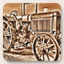 Antique Tractor Farm Equipment Classic Sepia Beverage Coaster