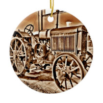 Antique Tractor Farm Equipment Classic Sepia Ceramic Ornament