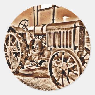 Antique Tractor Farm Equipment Classic Sepia Classic Round Sticker