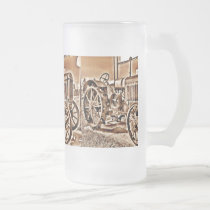 Antique Tractor Farm Equipment Classic Sepia Frosted Glass Beer Mug