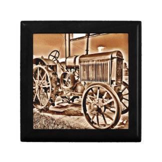 Antique Tractor Farm Equipment Classic Sepia Gift Box