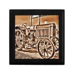 Antique Tractor Farm Equipment Classic Sepia Jewelry Boxes
