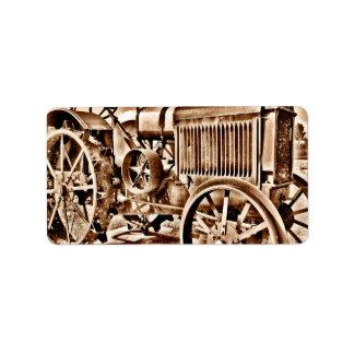 Antique Tractor Farm Equipment Classic Sepia Label