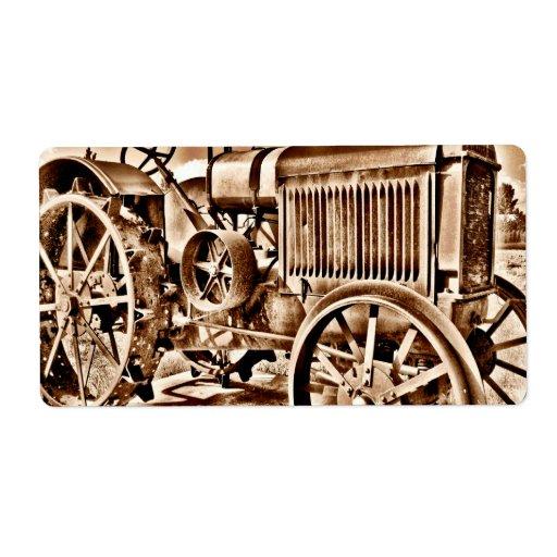 Antique Tractor Farm Equipment Classic Sepia Label Zazzle