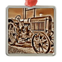 Antique Tractor Farm Equipment Classic Sepia Metal Ornament