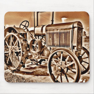 Antique Tractor Farm Equipment Classic Sepia Mouse Pad