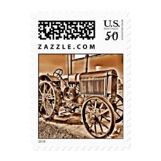 Antique Tractor Farm Equipment Classic Sepia Postage