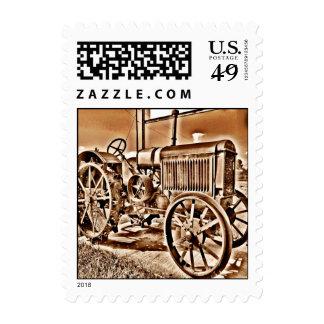 Antique Tractor Farm Equipment Classic Sepia Postage Stamp