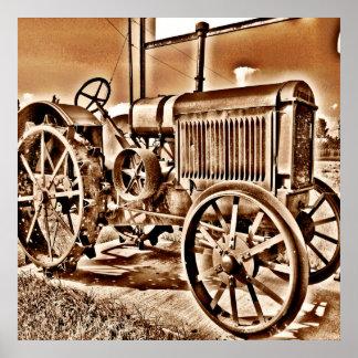 Antique Tractor Farm Equipment Classic Sepia Poster