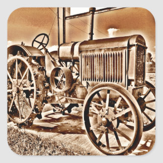 Antique Tractor Farm Equipment Classic Sepia Square Sticker
