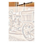 Antique Tractor Farm Equipment Classic Sepia Personalized Stationery